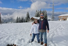 The snow has arrived! Jen & Craig at the top of the Chavannes this weekend.