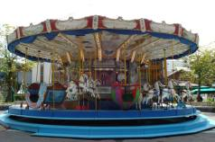 Traditional wooden carousel in Les Gets