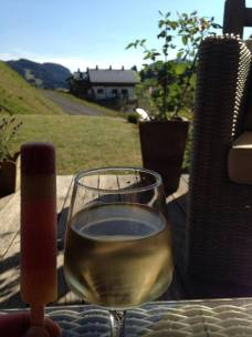Wine and a lolly - on the terrace at Chalet Virolet
