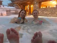 Guests enjoying the hot tub at Chalet Virolet