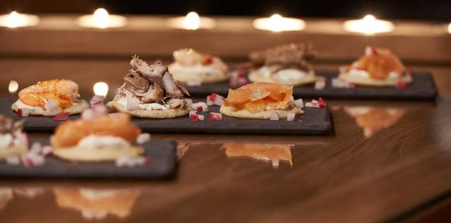 A trio of seafood blinis at Chalet Virolet